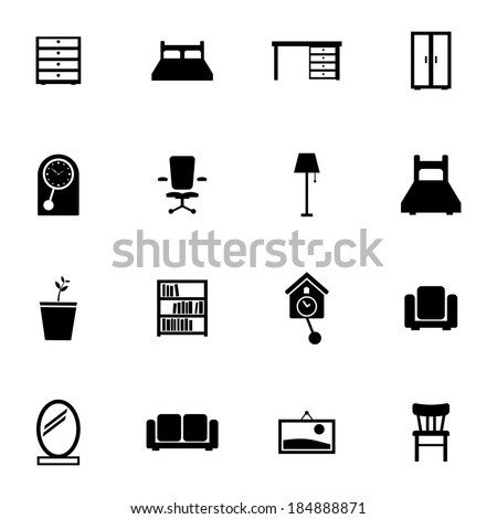 Vector black  furniture icons set on white background - stock vector