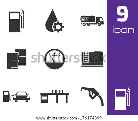 Vector black gas station icons set white background - stock vector