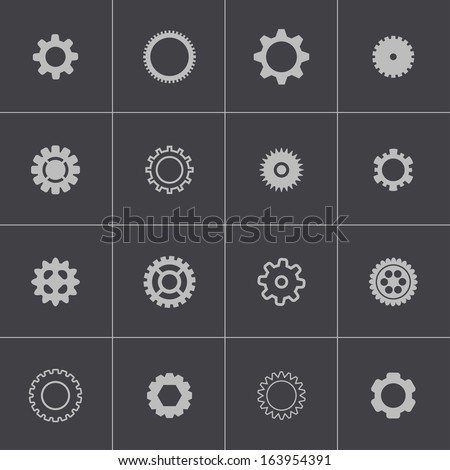 Vector black  gears  icons set - stock vector