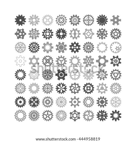 Vector black gears icons set machine wheel mechanism machinery mechanical, technology technical sign. Engineering symbol, round element gears icons. Gears icons work concept, industrial design. - stock vector