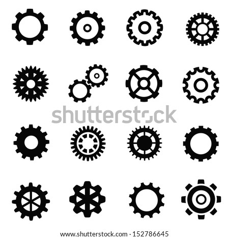 vector black gearwheel mechanism icon set on white - stock vector
