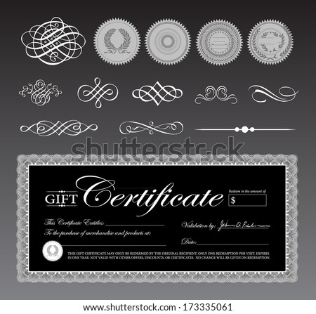 Vector black gift certificate and ornament set. Great for diplomas, certificates, and awards.  - stock vector
