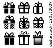 vector black gift icon set on white - stock photo