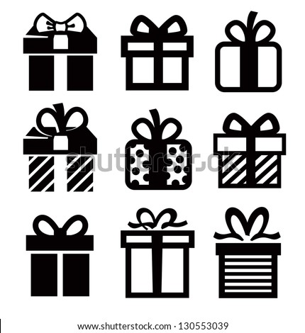 vector black gift icon set on white - stock vector