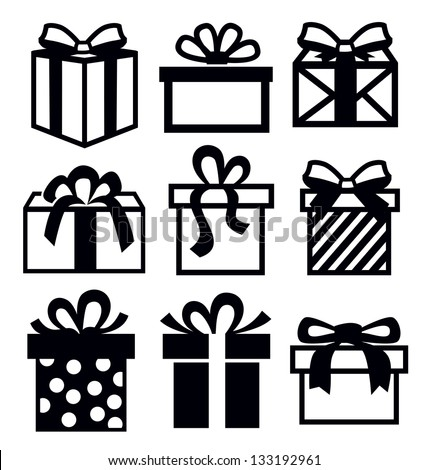 Vector black gift icon set on 135277112 vector black gift icon set on white negle