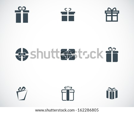 Vector black gift icons set - stock vector