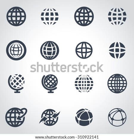 Vector black globe icon set. Globe Icon Object, Globe Icon Picture, Globe Icon Image, Globe Icon Graphic, Globe Icon JPG, Globe Icon EPS, Globe Icon AI - stock vector - stock vector