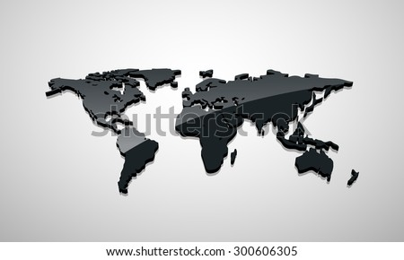 Vector black globe map of the world. - stock vector