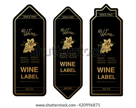 Vector black golden wine labels with grapes on white background. Rectangle frames on wine bottle. Decorative stickers.