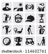 vector black golf icon set on gray - stock vector