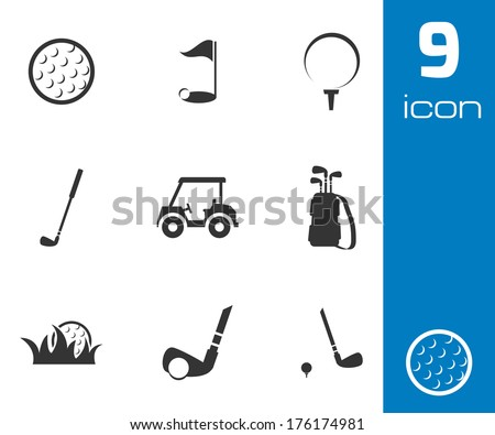 Vector black golf icons set on white background - stock vector
