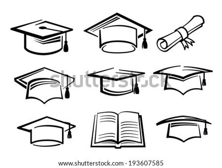 vector black graduating hat education symbol icon - stock vector