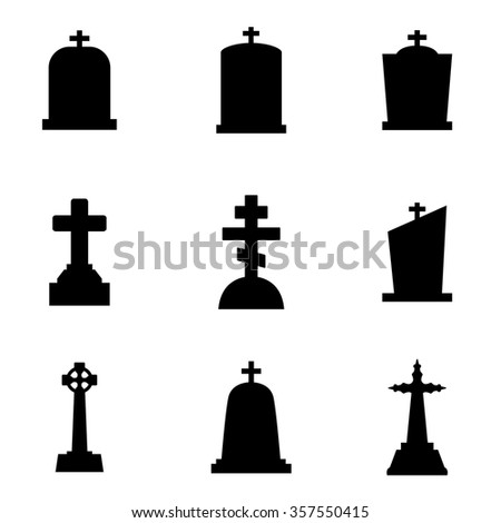 Vector black gravestone icon set. - stock vector