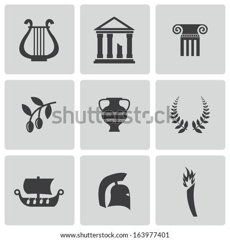 Vector black greece icons set - stock vector