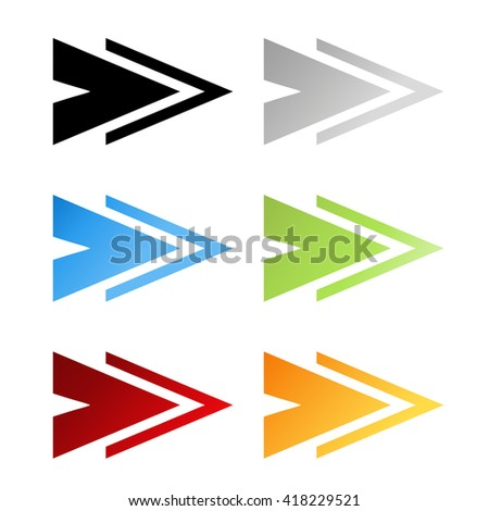 Vector black, grey, blue, green, red and orange arrow symbols. Simple arrow buttons. Pointer on web. Sign of next, read more, play, go etc.  - stock vector
