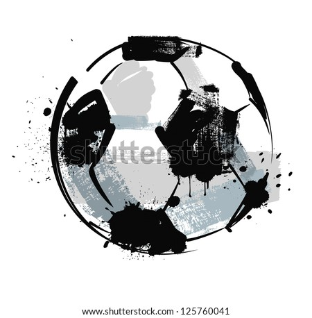 vector black grunge soccer ball on white - stock vector