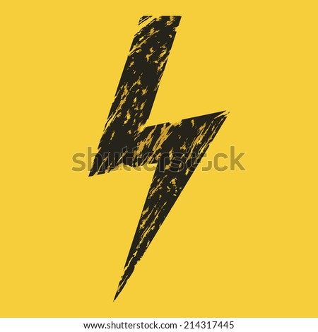 Vector Black Grunge Thunder Lighting on Yellow Background. Caution. Danger. Voltage. - stock vector