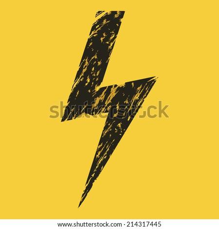 Vector Black Grunge Thunder Lighting on Yellow Background. Caution. Danger. Voltage. - stock vector