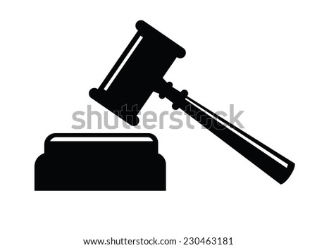 vector black Hammer judge icon on white background - stock vector