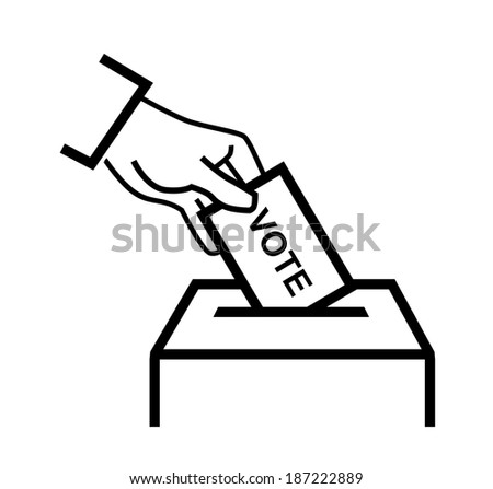 vector black hand putting a voting ballot on white - stock vector