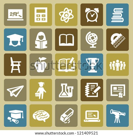 vector black higher education icons set on color - stock vector