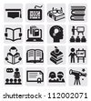 vector black higher education icons set on gray - stock photo