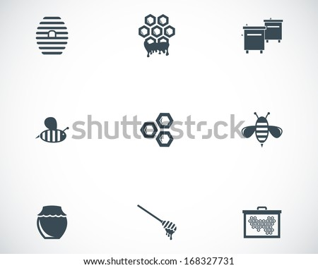 Vector black honey icons set on white background - stock vector