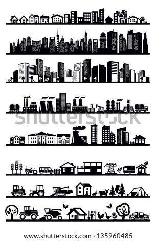 vector black houses and city icons set on white - stock vector