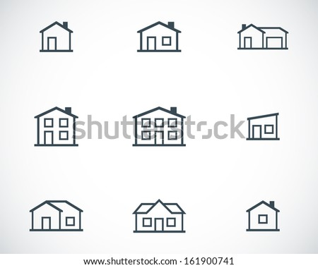 Vector black houses icons set - stock vector