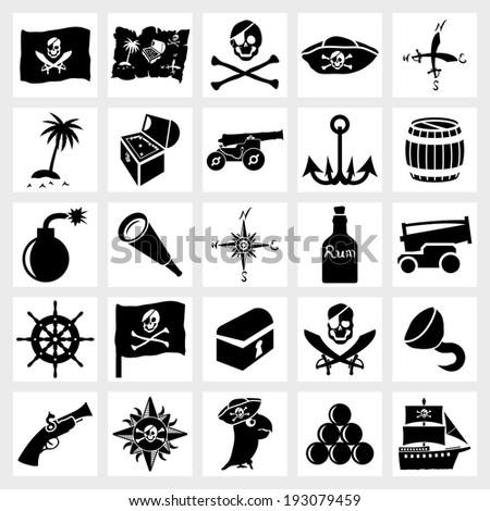 Vector black icon set piracy and nautical - stock vector