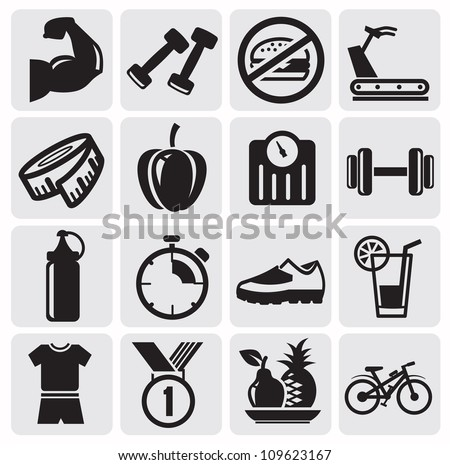 Vector black icons on fitness