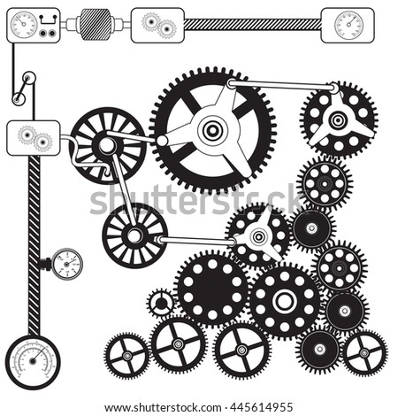 Vector black illustration of abstract cog - gears - stock vector