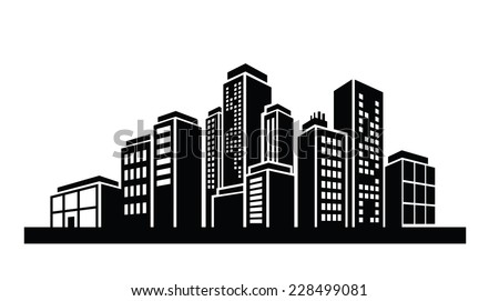 vector black illustration of Building icon on white - stock vector