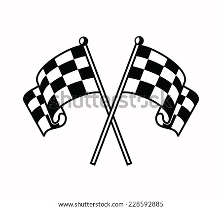 vector black illustration of checkered flags icon on white