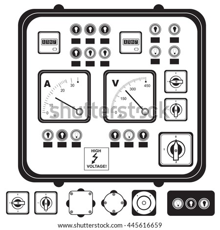Vector black illustration of electric control panel with elements: fuse, switch, indicator light  - stock vector