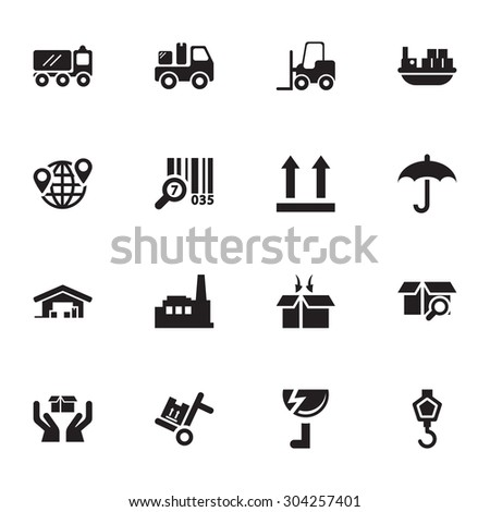 Vector black Industry & Logistics icon set on white background - stock vector