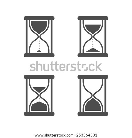 Vector black isolated hourglass icons set on white background - stock vector