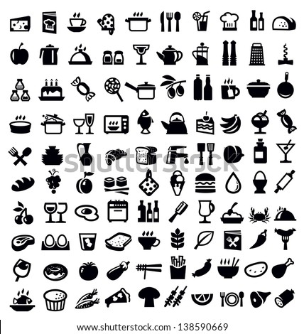 vector black kitchen and food icon set on white - stock vector