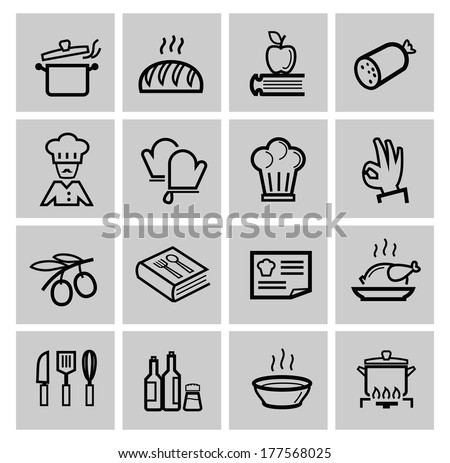 vector black kitchen icons set - stock vector