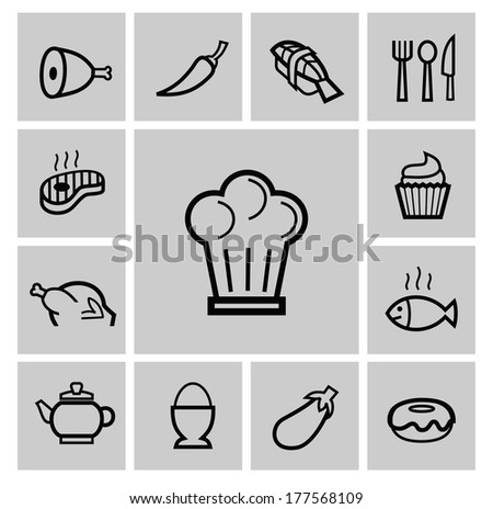 vector black kitchen icons set