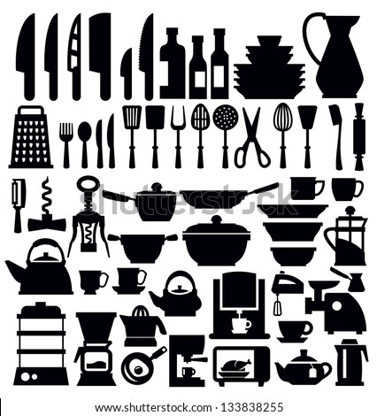 vector black kitchen tool icons set on white - stock vector