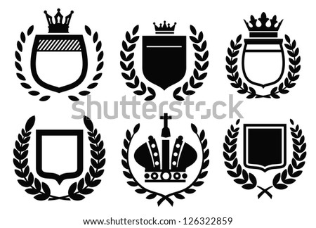 vector black labels icon set on white - stock vector