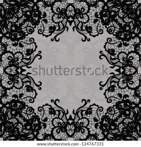 Vector black lace on texture, template. - stock vector