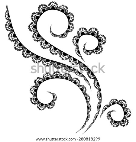 Vector black lace pattern on a white background - stock vector