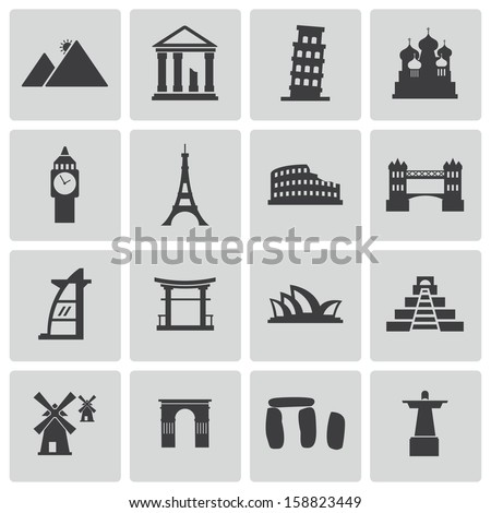 Landmarks Vector Vector Black Landmark Icons