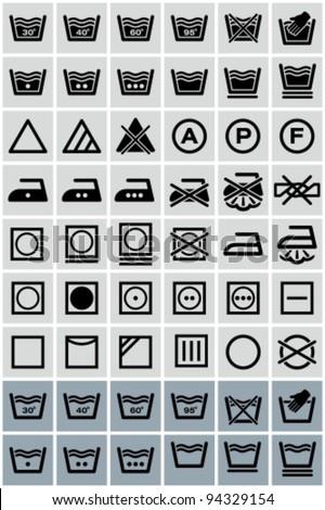 Vector black laundry icons set. - stock vector