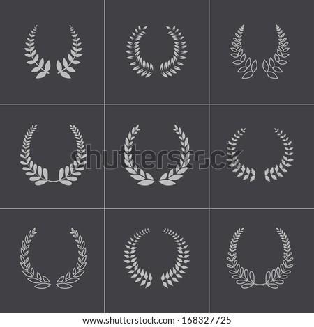 Vector black laurel wreaths icons set - stock vector