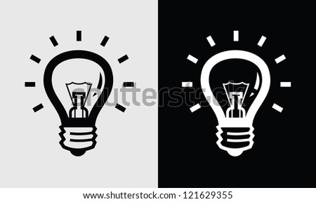 vector black light bulb icon set on white and black - stock vector
