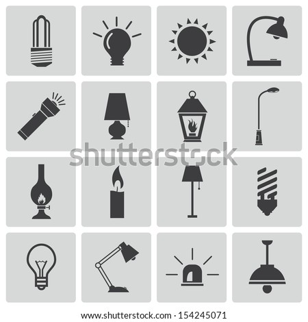 Vector black light icons set - stock vector