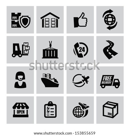 vector black logistic and shipping icon set - stock vector